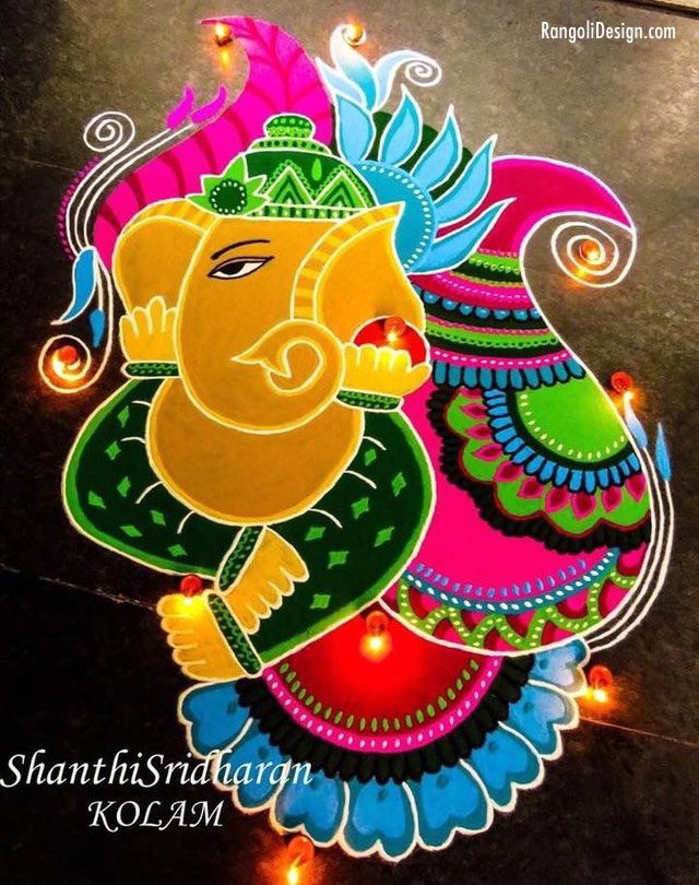 ganesh rangoli design by shanti sridharan
