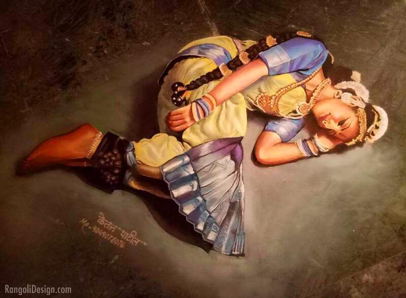 hyper realistic portrait rangoli art painting by ketan patil