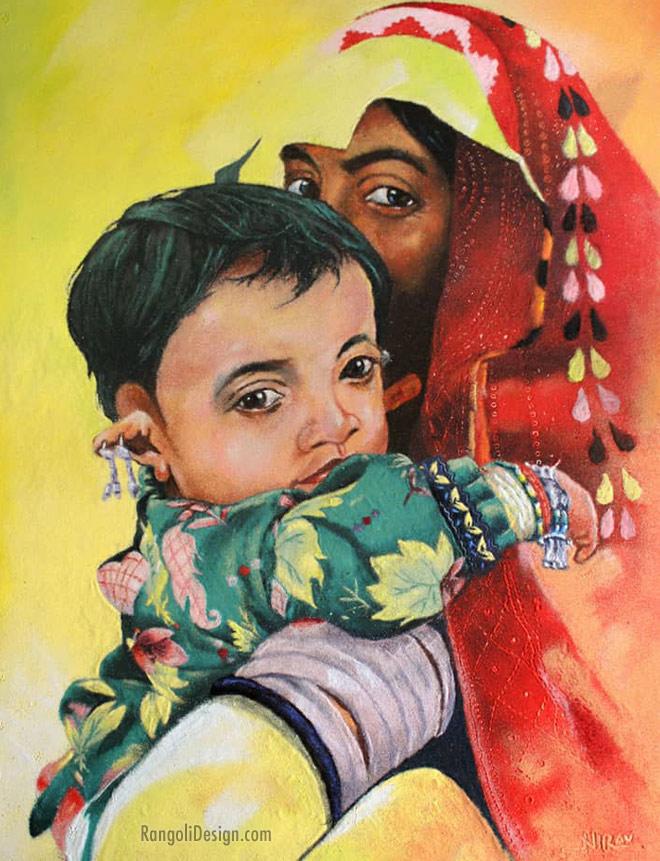 portrait rangoli design art by nirav