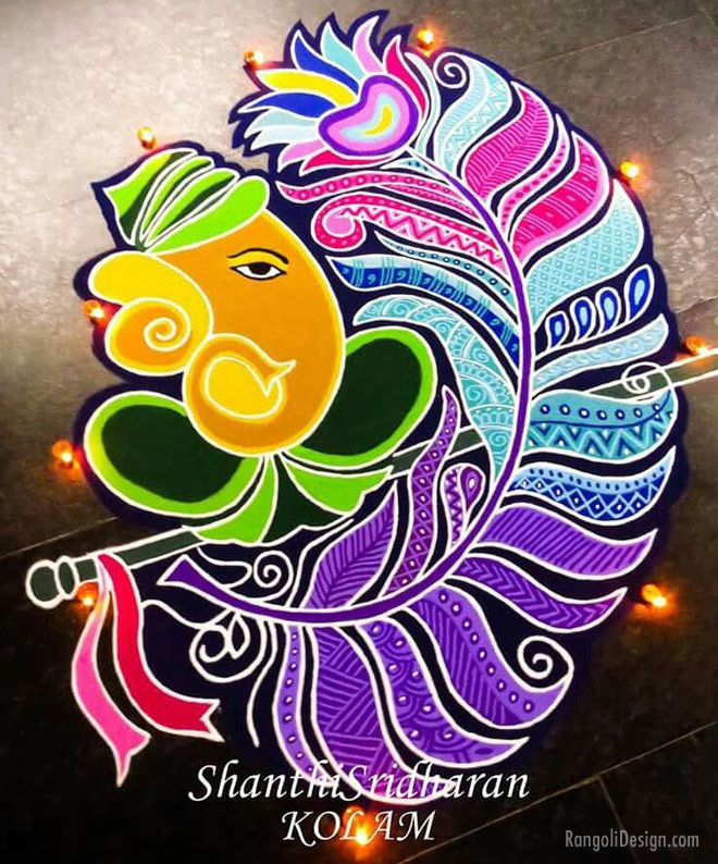 rangoli design ganesh feather by shanti sridharan