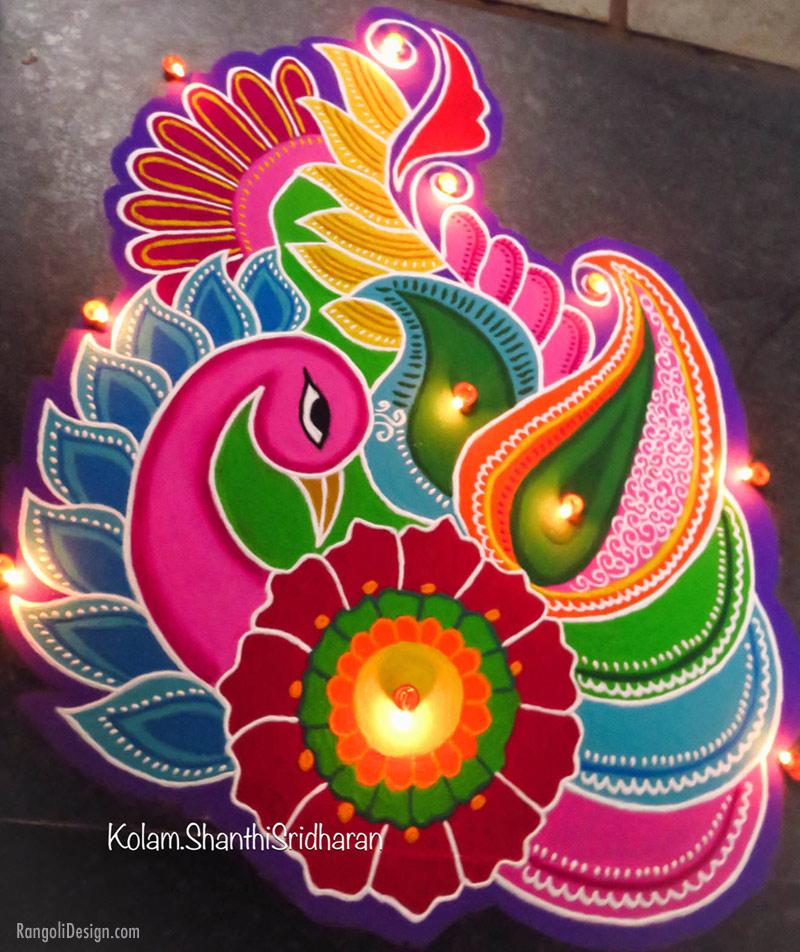 rangoli design peacock shanti sridharan