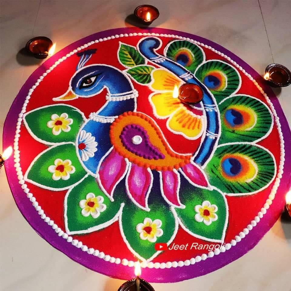 beautiful peacock rangoli design by jeet rangoli