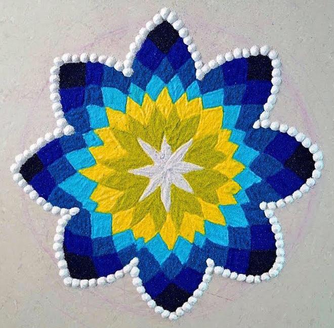beautiful rangoli design blue yellow mandala