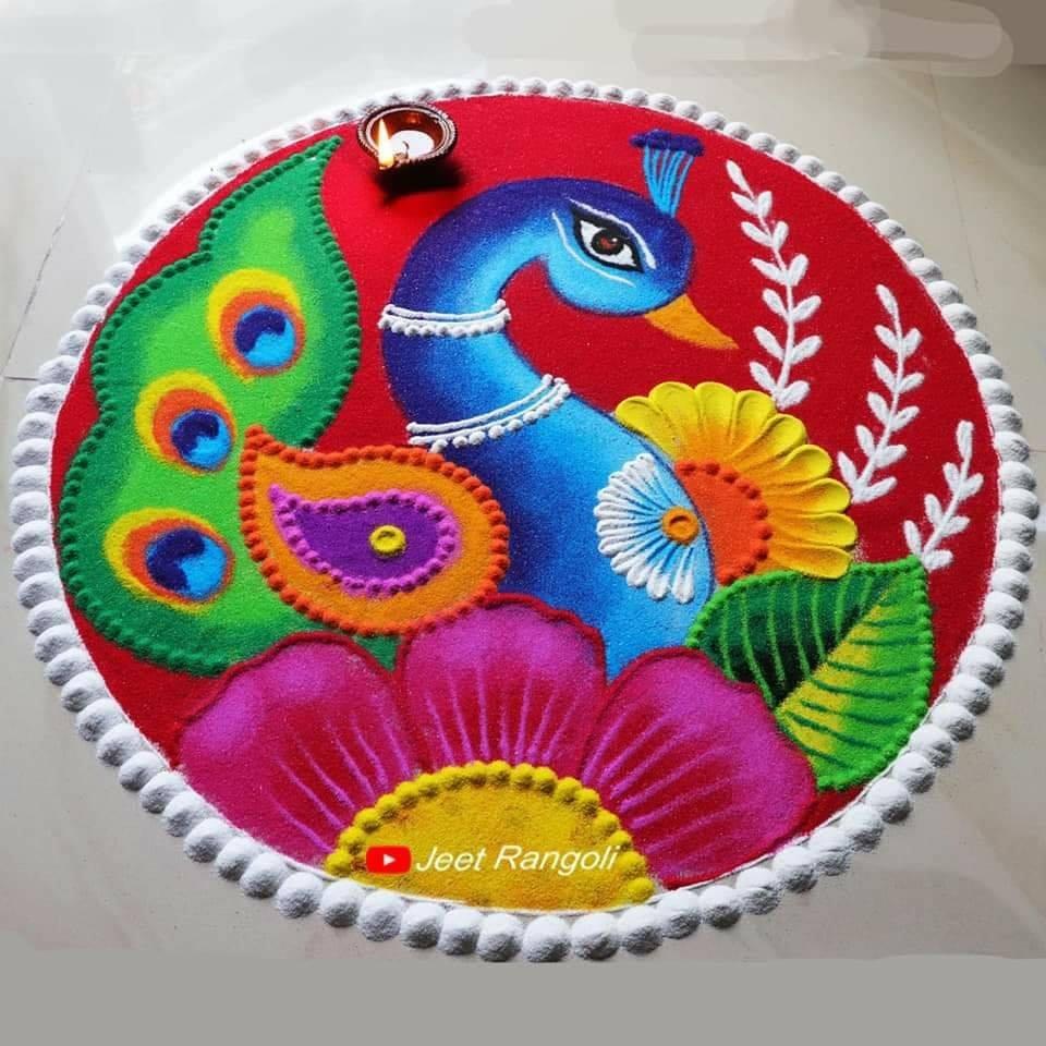 colorful peacock rangoli design by jeet rangoli