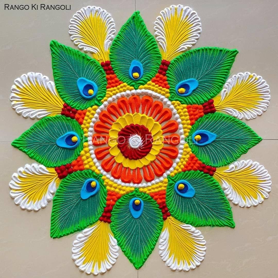 floral rangoli design by rangoki