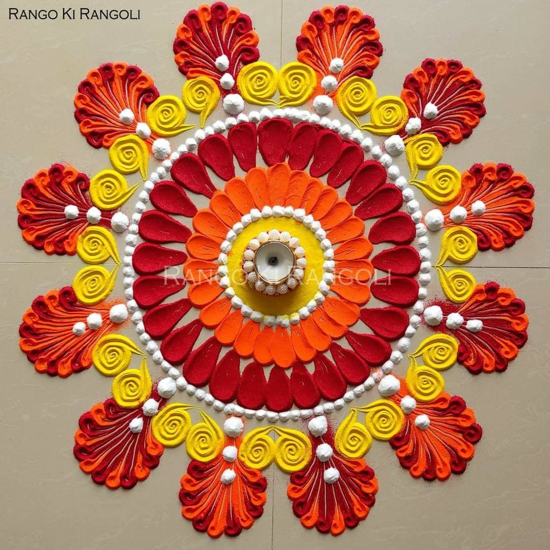flower rangoli design by rangoki