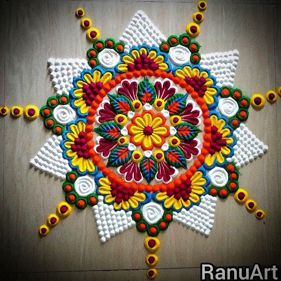 magnificent rangoli design for holi