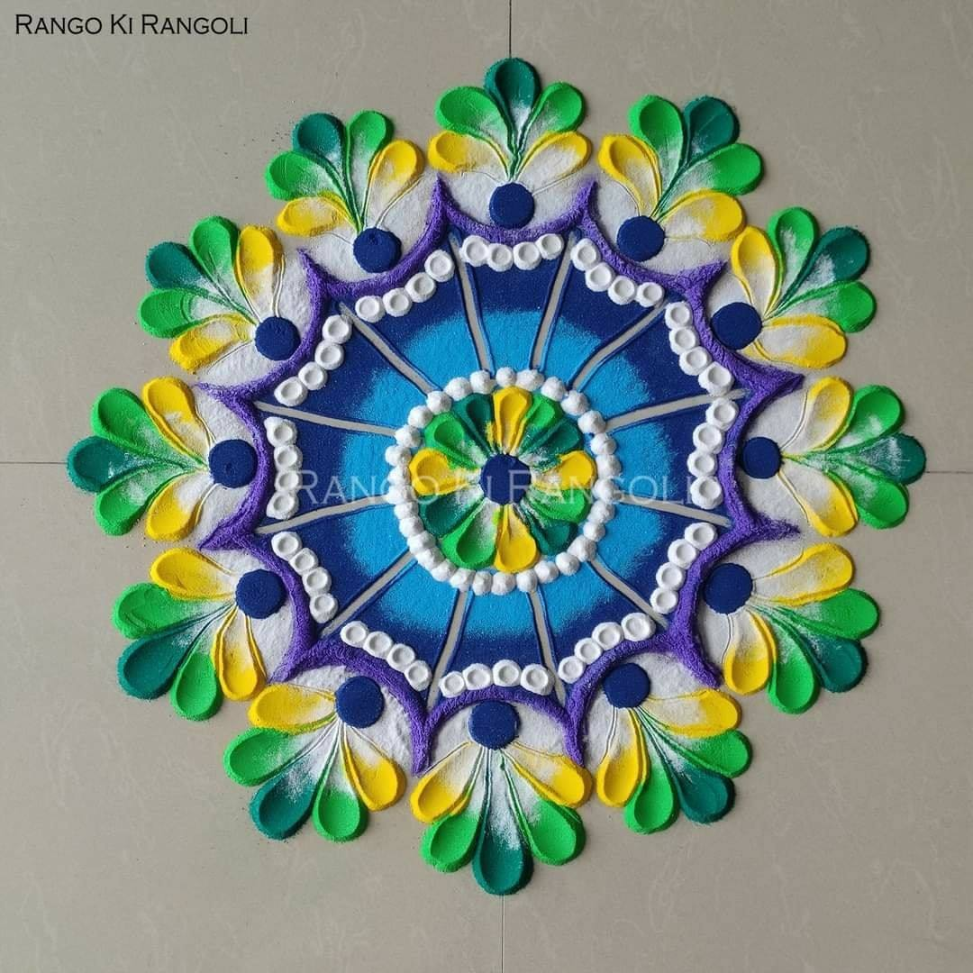 mandala rangoli design blue yellow by rangoki