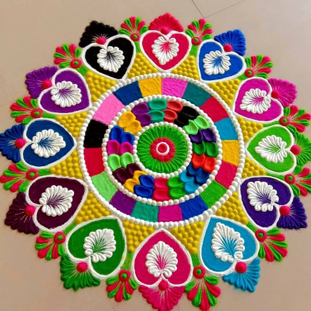 mandala rangoli design colorful by monika mouni