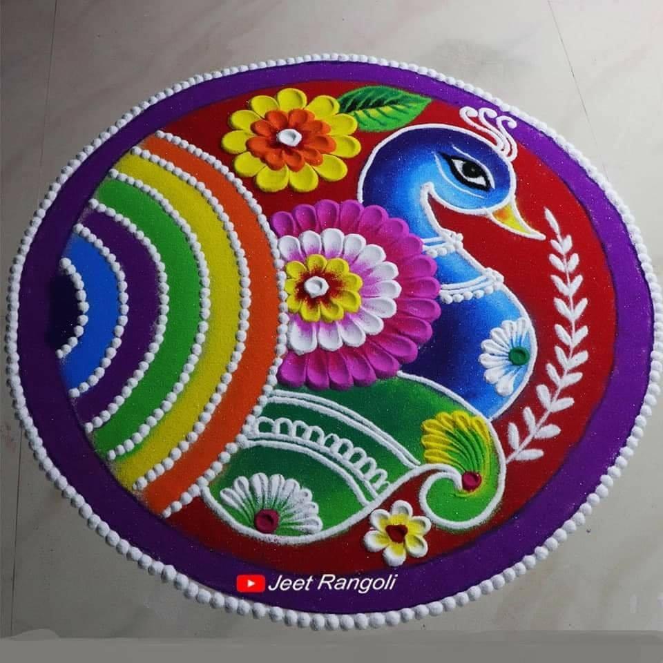 peacock rangoli design by jeet rangoli