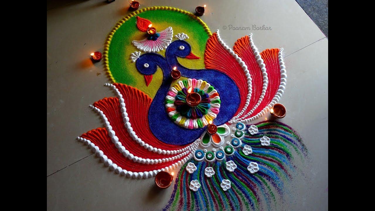 peacock rangoli design for festival