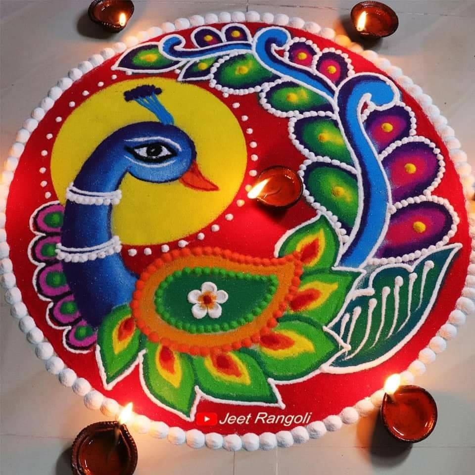 peacock rangoli designs by jeet rangoli