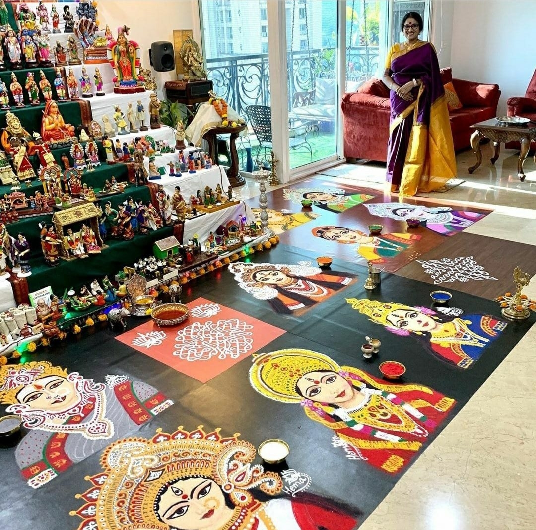 portrait rangoli design goddesses by thelotusshakti
