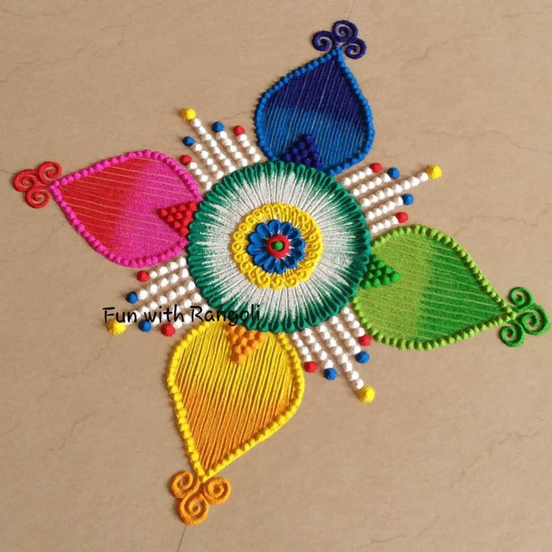 rangoli design colorful small by ayushi agarwal