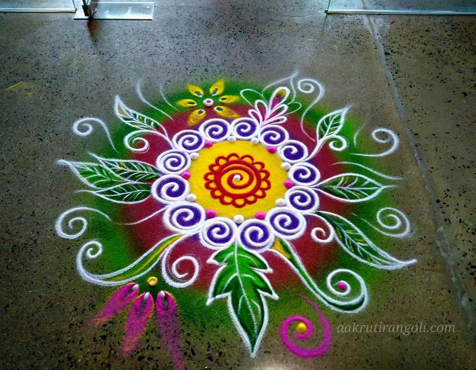 rangoli design floral by aakruti
