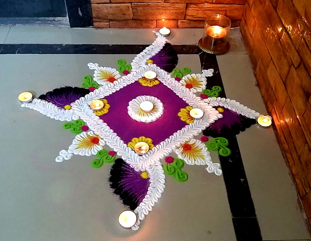 rangoli design small flower by prachi khadke