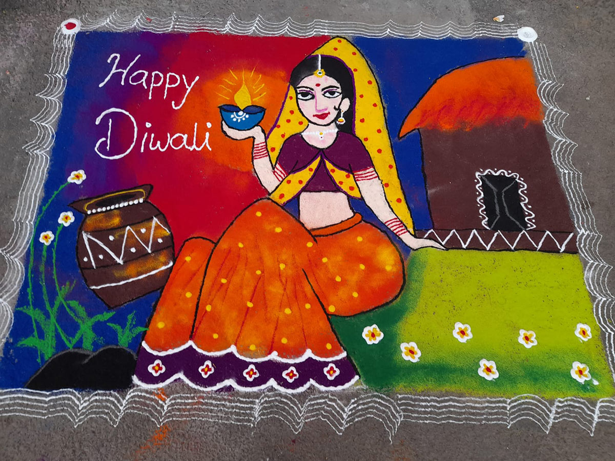 rangoli design village girl