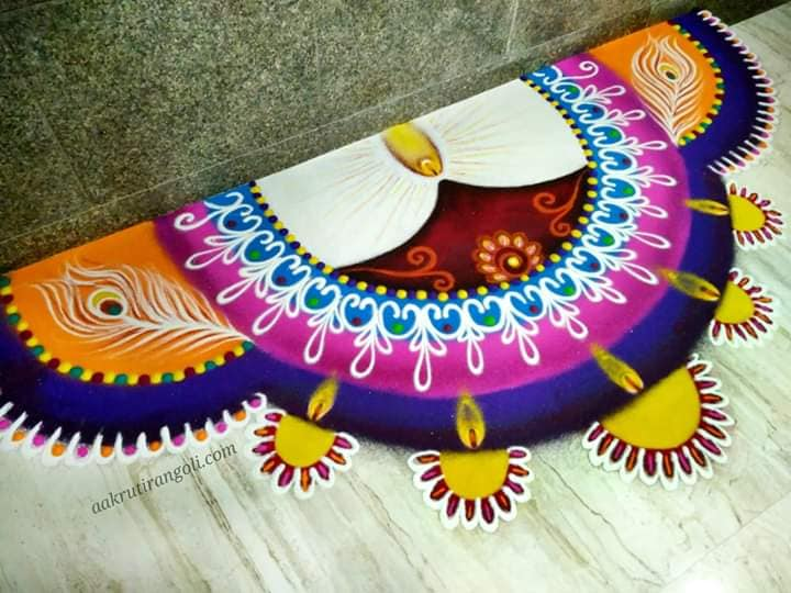 sanskar bharti rangoli design doorway by aakruti