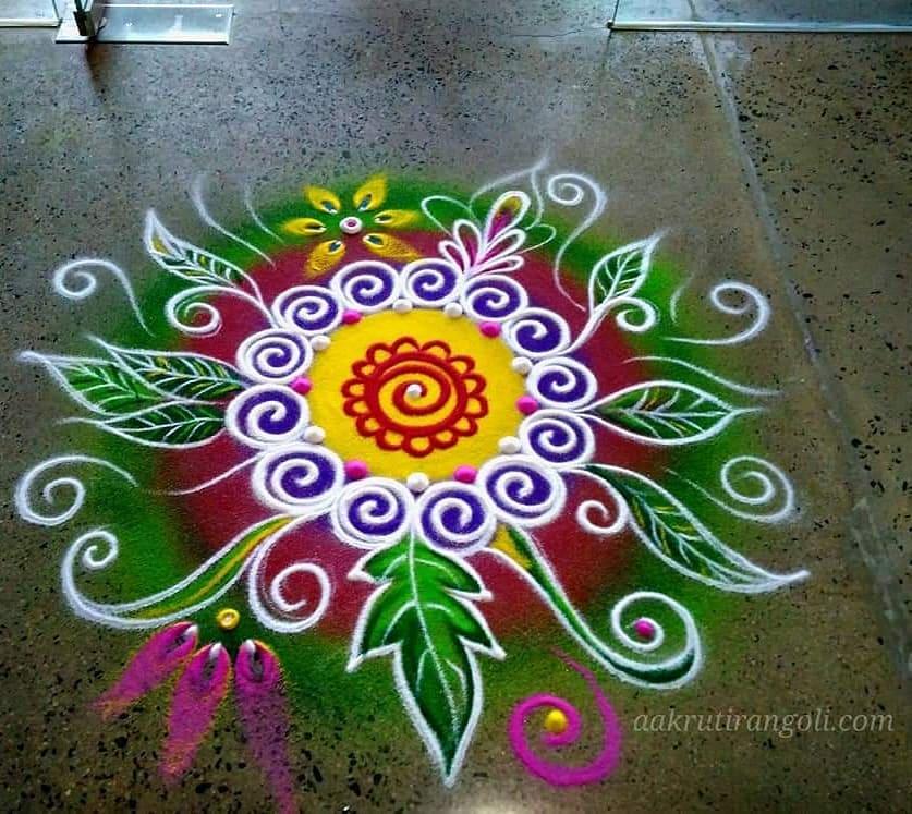 simple colorful rangoli design by aakruti