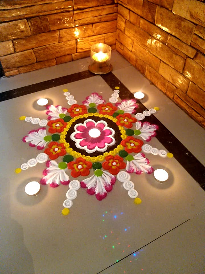 small rangoli design lights by prachi khadke