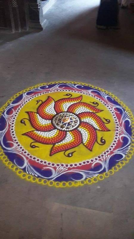 beautiful lotus peacock rangoli design