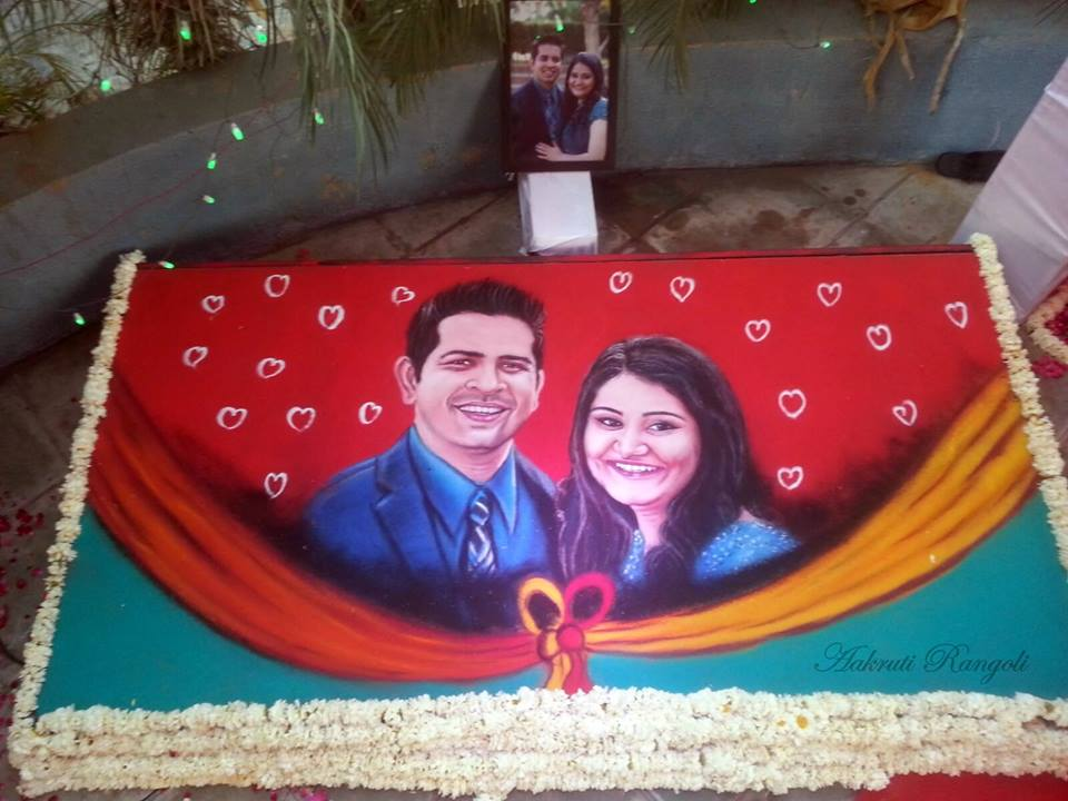 wedding portrait rangoli design