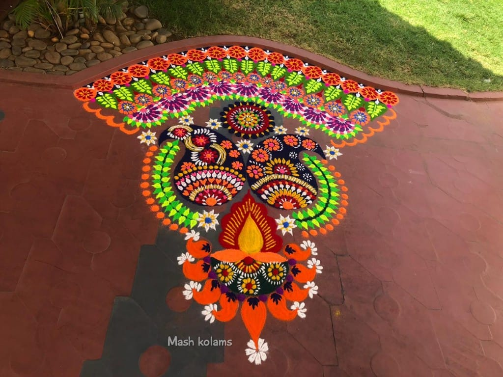 colorful diwali rangoli design by mash kolam