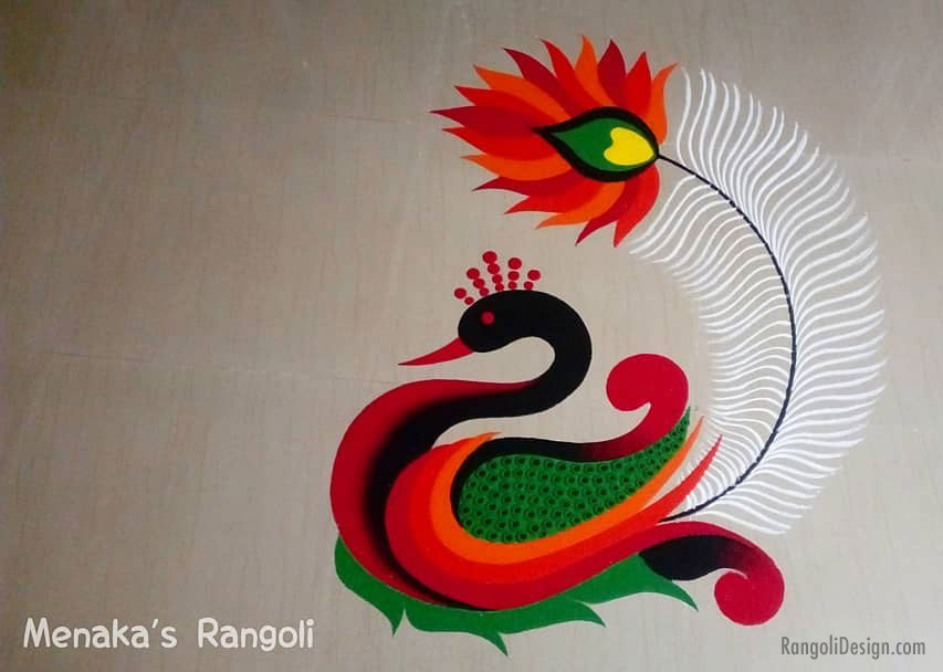 peacock rangoli design by menaka