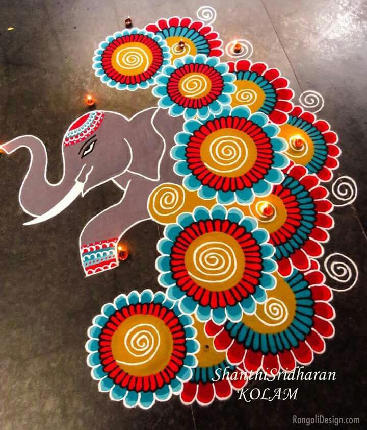 rangoli design competition elephant