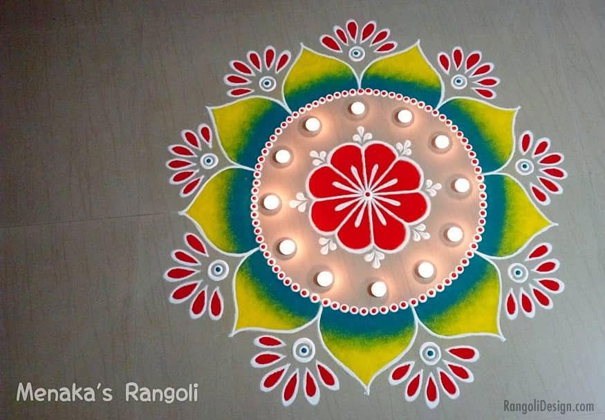 rangoli design flower by menaka