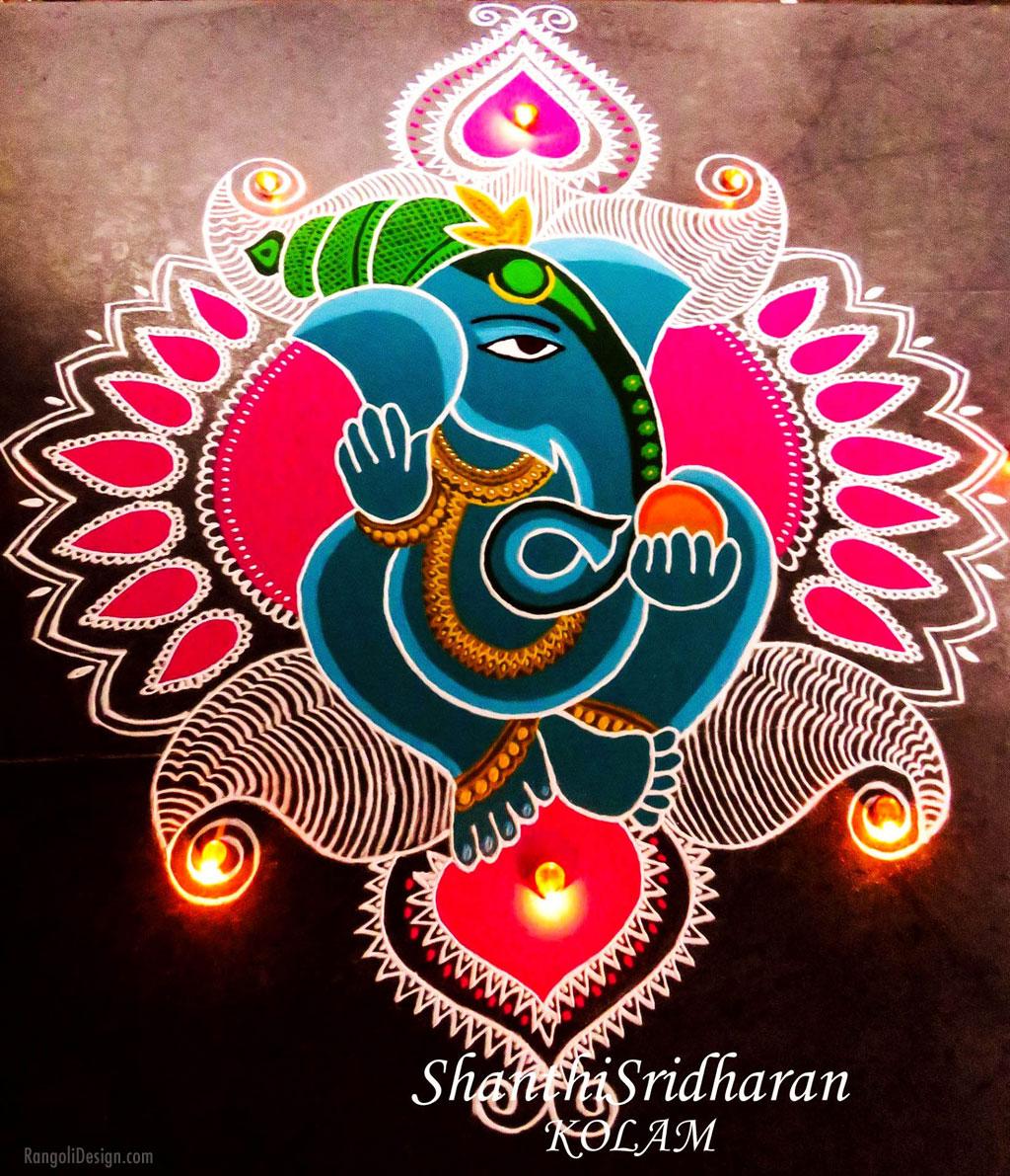 rangoli design hindu festival ganesh chathurti by shanthi sridharan