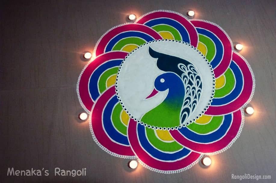 rangoli design peacock diwali by menaka