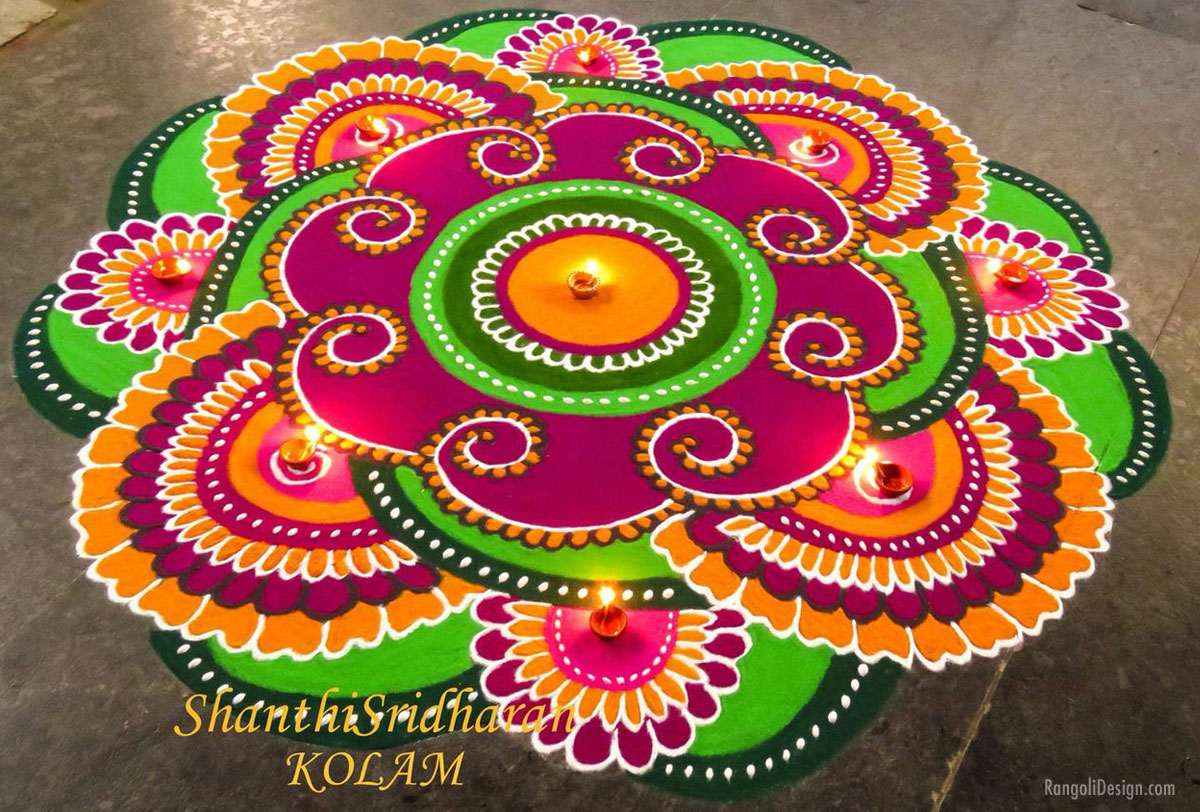 rangoli design purple flower by shanthi sridharan