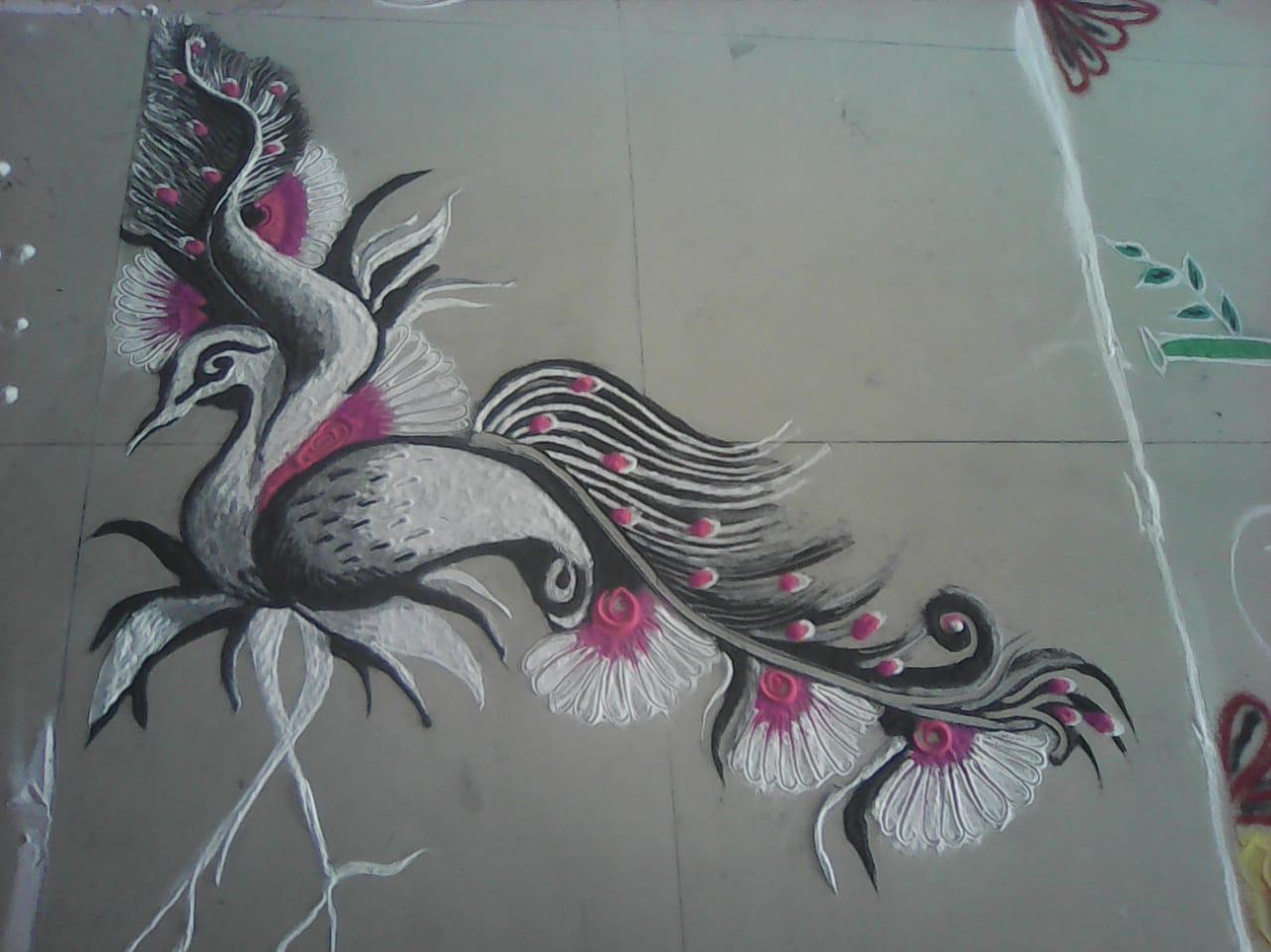 bird rangoli design by komal dhote