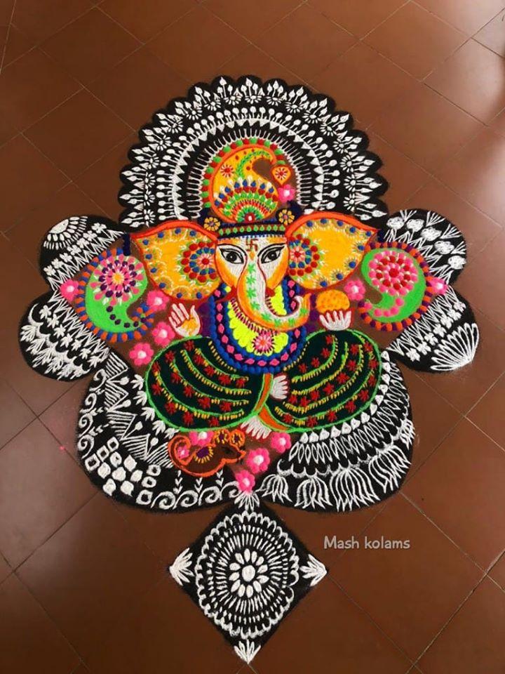 rangoli design ganesh god by masheswari mash