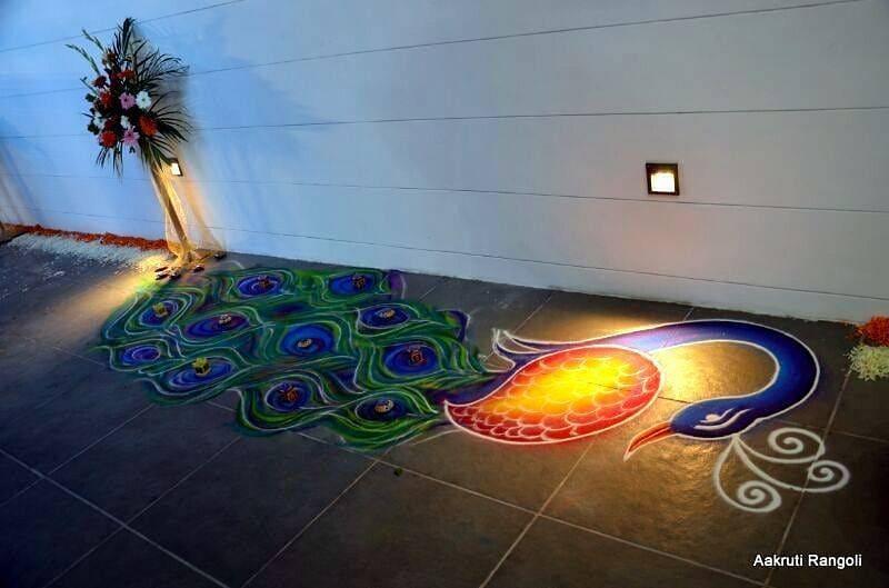 rangoli design peacock by aakruti