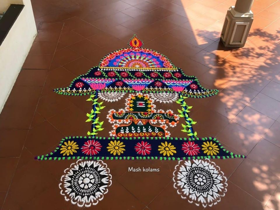 rangoli design shiva chariot by maheswari