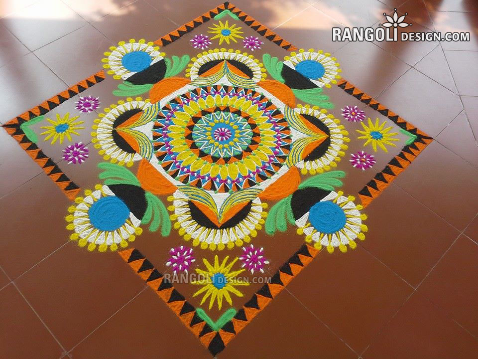 rangoli design colorful flower by mash -  1