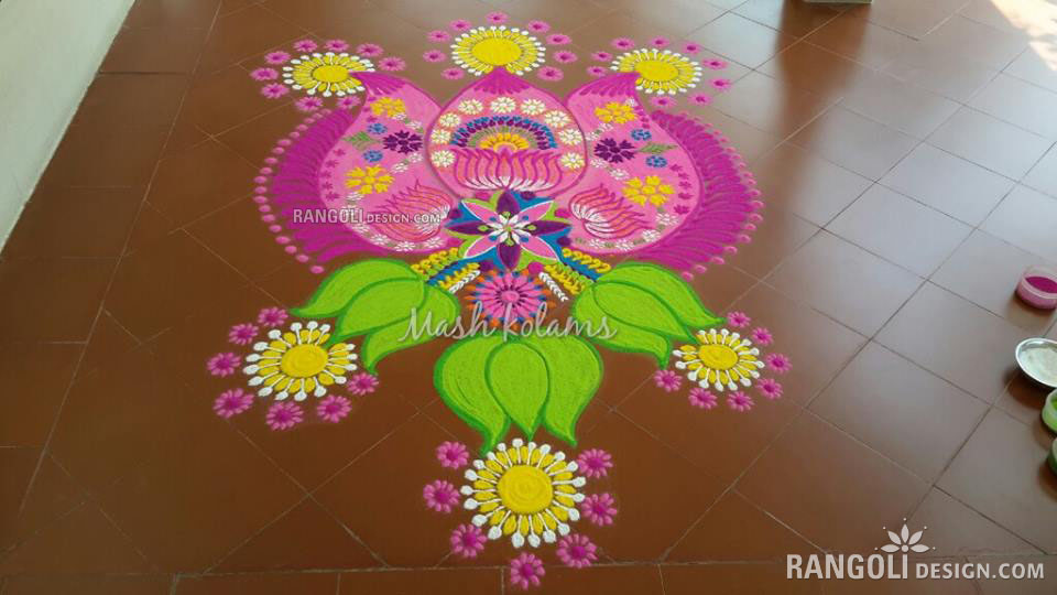 rangoli design flower mash