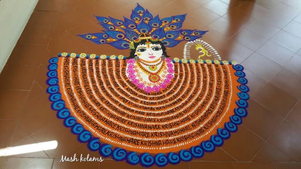krishna portrait rangoli design by maheswari