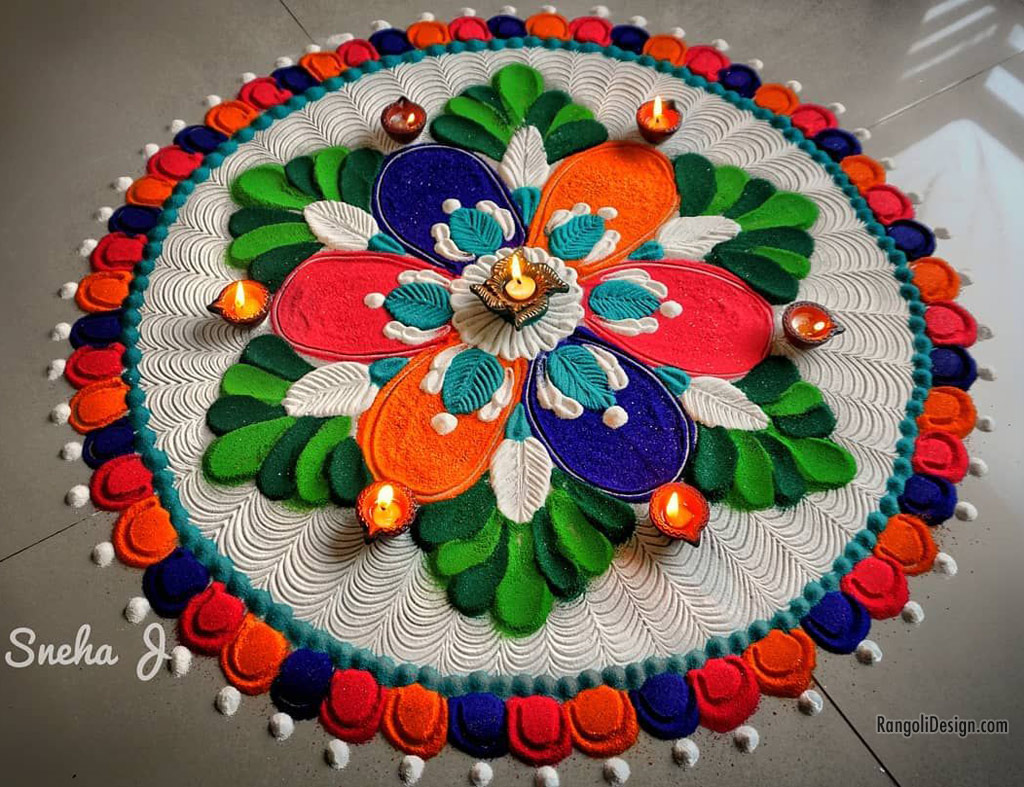 rangoli design flower by sneha