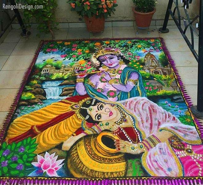 rangoli design radha krishna by nirali gajjar