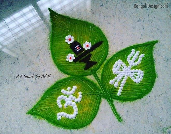 simple rangoli hindu god by aditi